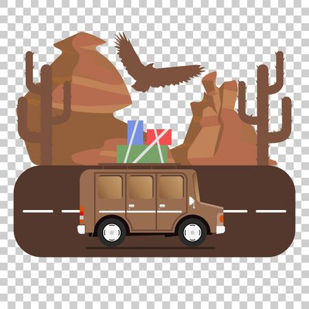 Travel car campsite place landscape. Mountains, desert, cactus, eagle and road. Vector illustration in flat style.