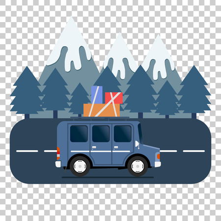 Travel car campsite place landscape. Mountains, trees, fir tree, and road. Vector illustration in flat style. Reklamní fotografie - 70822153