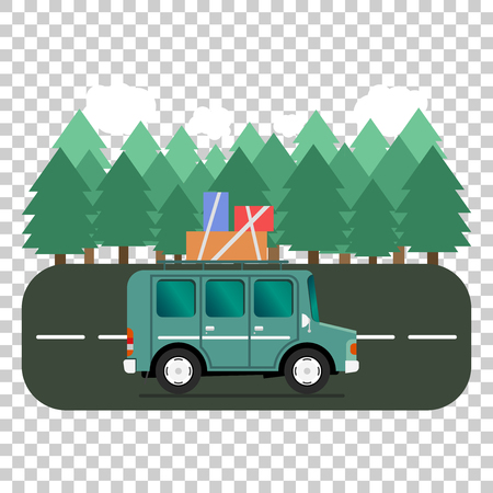 Travel car campsite place landscape. Forest, trees, fir tree and road. Vector illustration in flat style. Reklamní fotografie - 70822154