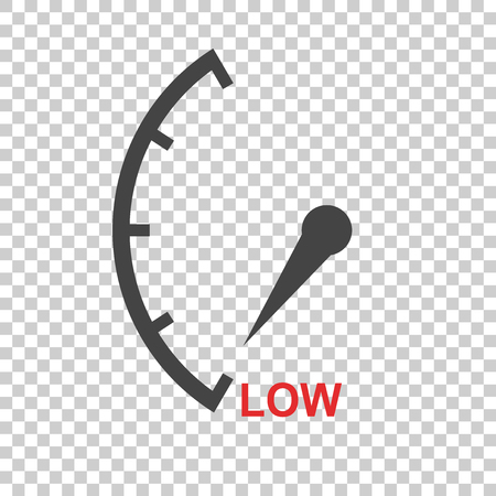 Speedometer, tachometer, fuel low level icon. Flat vector illustration on isolated background