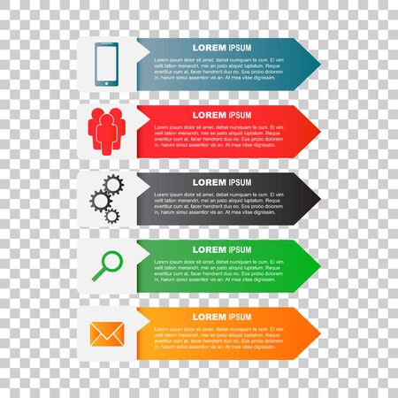 Infographic templates with smartphone, people, gear, magnifier and sms message for business. Color flat vector illustration Illusztráció