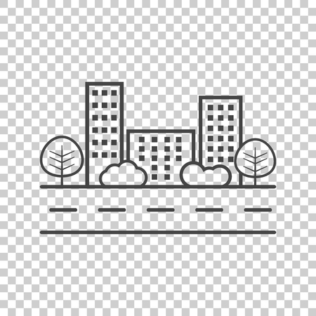 shrub: Vector city illustration in flat style. Building, tree and shrub on road on isolated background