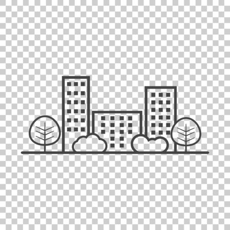 Vector city illustration in flat style. Building, tree and shrub on isolated background
