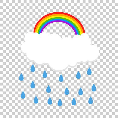 Cloud with rainbow and rain. Vector illustration Ilustracja