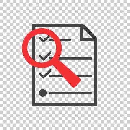 Files zoom icon. Flat vector illustration