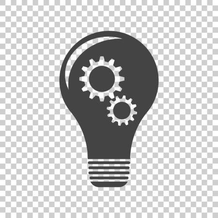 Idea with light lamp bulb. Flat vector