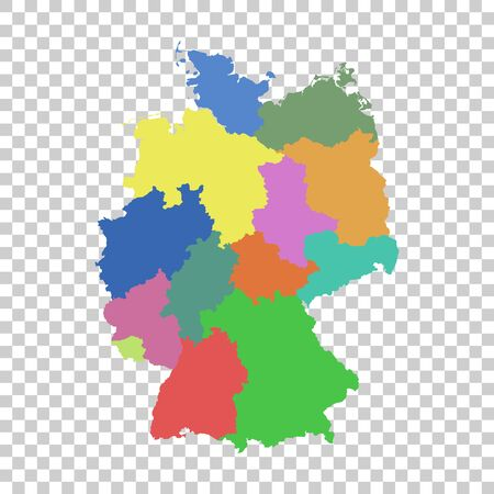 Germany map with federal states. Flat
