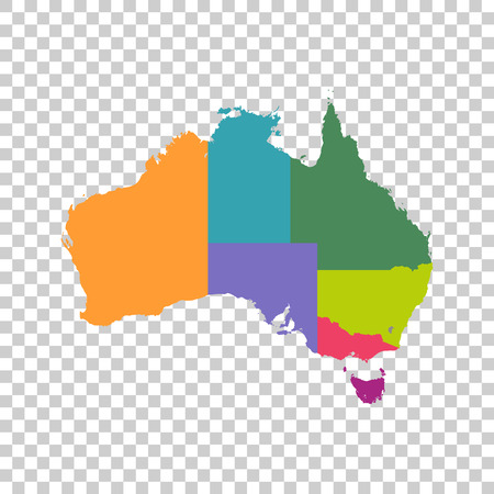 Australia map color with regions Illustration