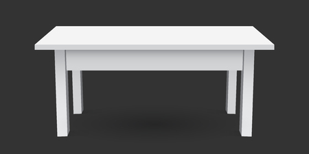 kitchen studio: Vector 3d table for object presentation. Empty white top table isolated on black background.