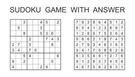Sudoku-spel met antwoord. Vector puzzelspel met nummers voor kinderen en volwassenen. Illustratie op witte achtergrond. Stock Illustratie