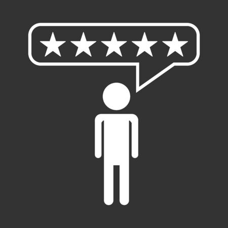 Customer reviews, rating, user feedback concept vector icon. Flat illustration on black background. 向量圖像