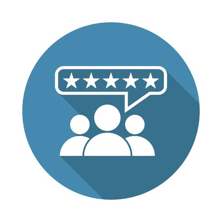 Customer reviews, rating, user feedback concept vector icon. Flat illustration on blue background with long shadow.