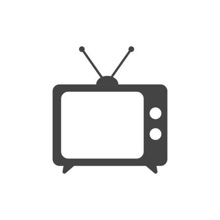 Vlakke die TV in stijl op witte lay-out wordt geïsoleerd. Stock Illustratie