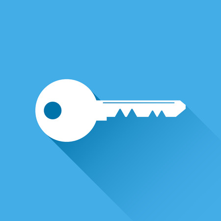 Key Icon vector illustration in flat style isolated on blue background. Unlock symbol for web site design, logo, app, ui.