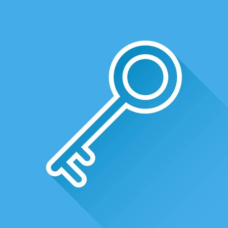 Key Icon vector illustration in flat style isolated on blue background. Unlock line symbol for web site design, logo, app, ui.