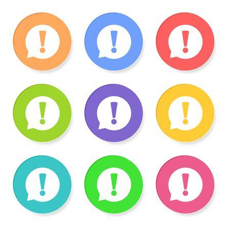 느낌표 아이콘 벡터 일러스트 레이 션 흰색 배경에 고립 플랫 스타일. 웹 사이트 디자인, 로고, 응용 프로그램, UI에 대 한 관심 기호. 일러스트