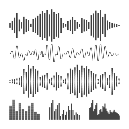 Vector sound waveforms icon. Sound waves and musical pulse vector illustration on white background.