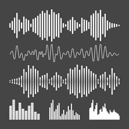 ベクトル サウンド波形アイコン。波の音と音楽のパルスはベクトル黒の背景のイラストです。
