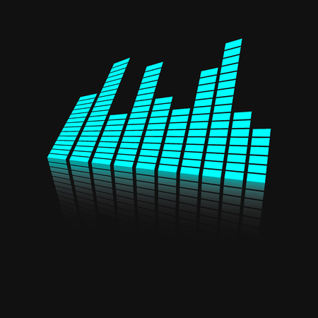 Vector sound waveforms icon on mirror. Sound waves and musical pulse vector illustration on black background with reflection effect.