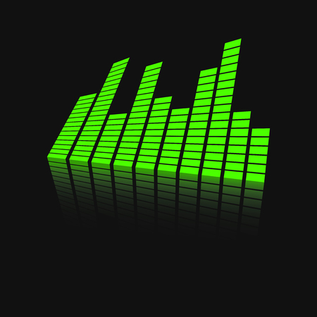 ミラーのベクトル サウンド波形アイコン。波の音と音楽のパルスはベクトル反射効果と黒の背景のイラストです。  イラスト・ベクター素材