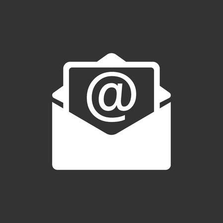 Mail envelope icon isolated on black color.
