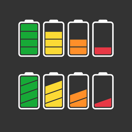 Battery icon set isolated on black color. Stock Illustratie