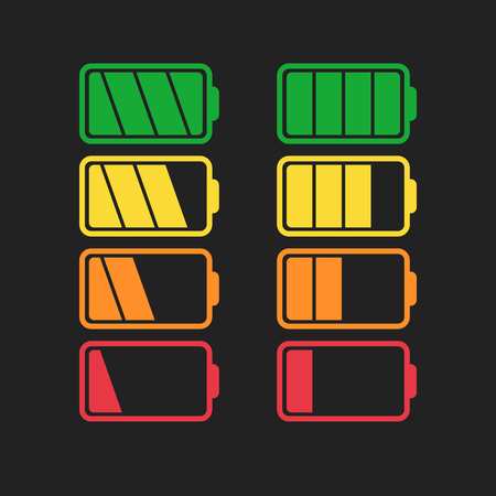 Battery icon set isolated on black color. Иллюстрация