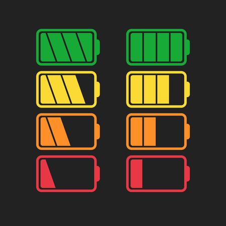 Battery icon set isolated on black color. Illusztráció