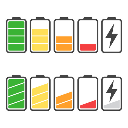 Battery icon set isolated on white color.