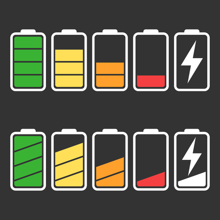 Battery icon set isolated on black color. 向量圖像