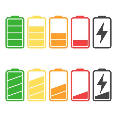 Battery icon set isolated on white color