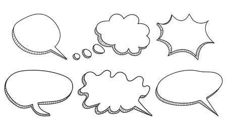 Speech bubbles icon set hand drawn vector illustration on white background. Illusztráció