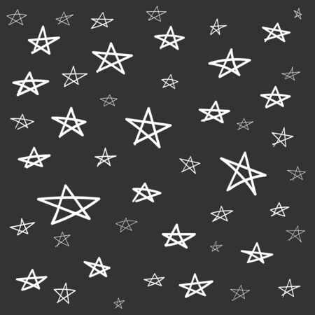 Hand drawn star pattern with ink doodles