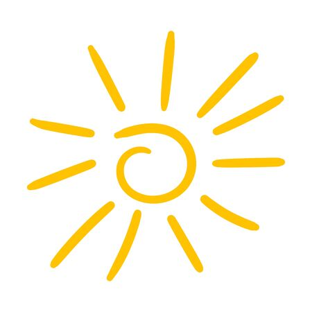 Hand drawn sun icon isolated on white background.
