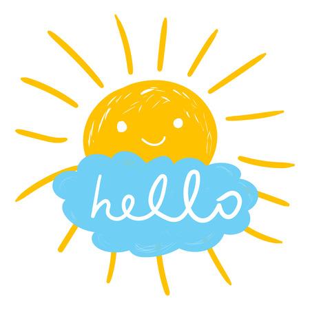 Hello zomer handgetekende krijt zon iconen.