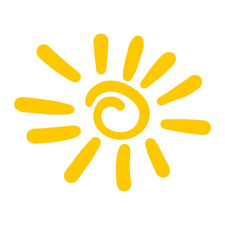 Hand drawn sun icon. Vector illustration isolated on white background.