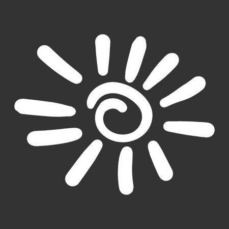 Hand getrokken zon pictogram geïsoleerd op zwarte achtergrond. Stock Illustratie