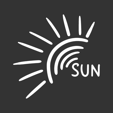 Hand drawn sun icon isolated on black background.