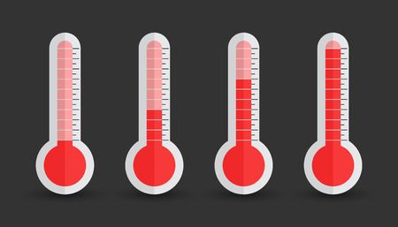sweltering: Thermometers icon with different levels. Flat vector illustration isolated on black background. Illustration