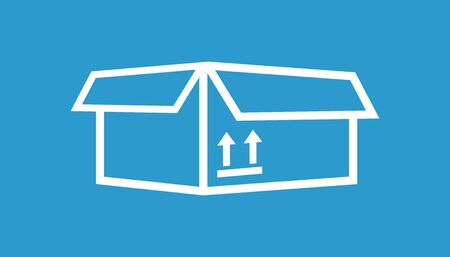 Packaging box icon with arrow symbol. Shipping pack simple vector illustration on blue background.