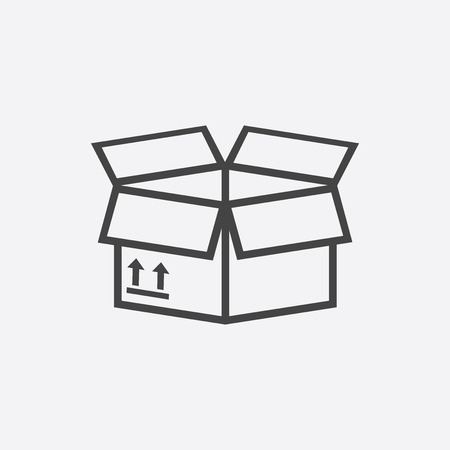 Packaging box icon with arrow symbol. Shipping pack simple vector illustration on white background. 向量圖像