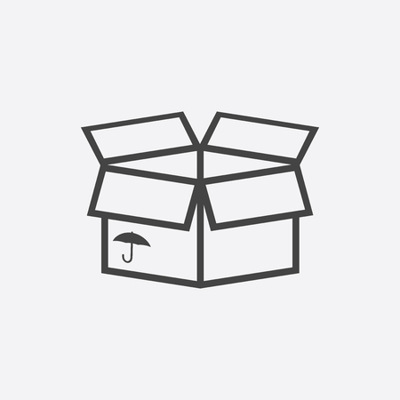 Packaging box icon with umbrella symbol. Shipping pack simple vector illustration.