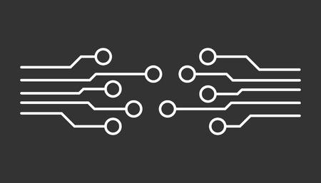 Circuit board icon. Technology scheme symbol flat vector illustration on black background.