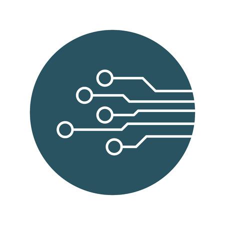 Icona del circuito. Schema di tecnologia simbolo illustrazione vettoriale piatto su sfondo blu. Archivio Fotografico - 72371492