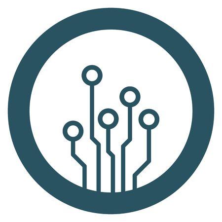 Circuit board icon. Technology scheme symbol flat vector illustration on blue background.