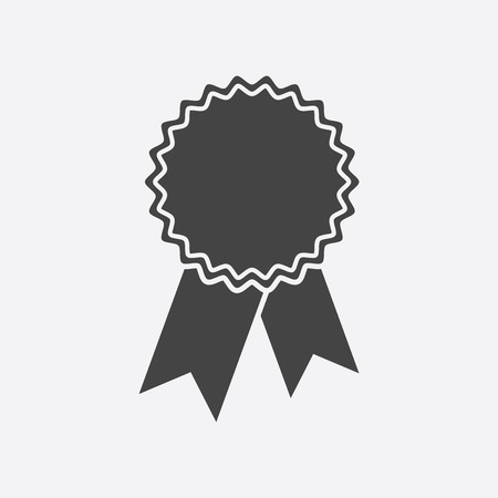 Badge with ribbon icon. Illustration in flat style on white design.