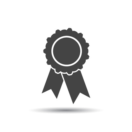 Badge with ribbon icon. Vector illustration in flat style on white background. Ilustrace