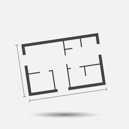 House plan simple flat icon. Vector illustration on white background. Vettoriali