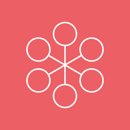 Structure simple flat icon. Vector illustration on red background.