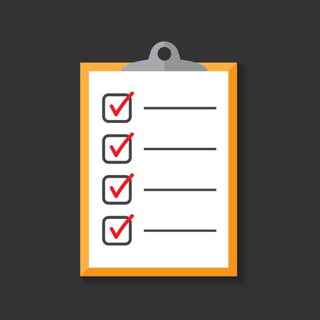 To do list icon. Checklist, task list vector illustration in flat style. Reminder concept icon on black background.
